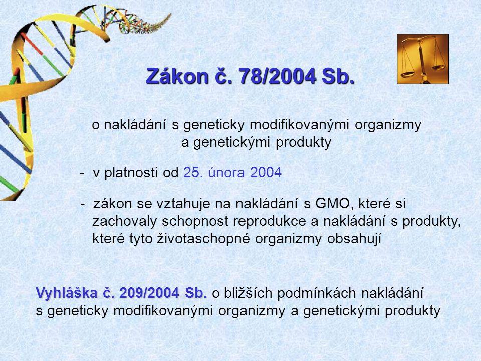 Zákon č. 78/2004 Sb. o nakládání s geneticky modifikovanými organizmy