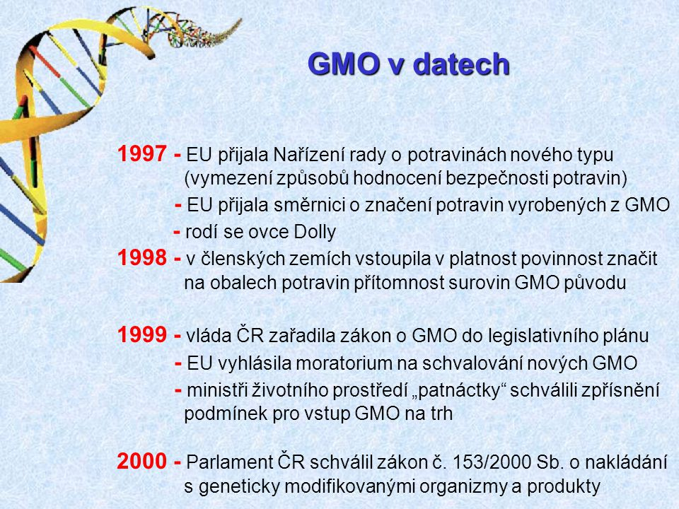 GMO v datech 1997 - EU přijala Nařízení rady o potravinách nového typu