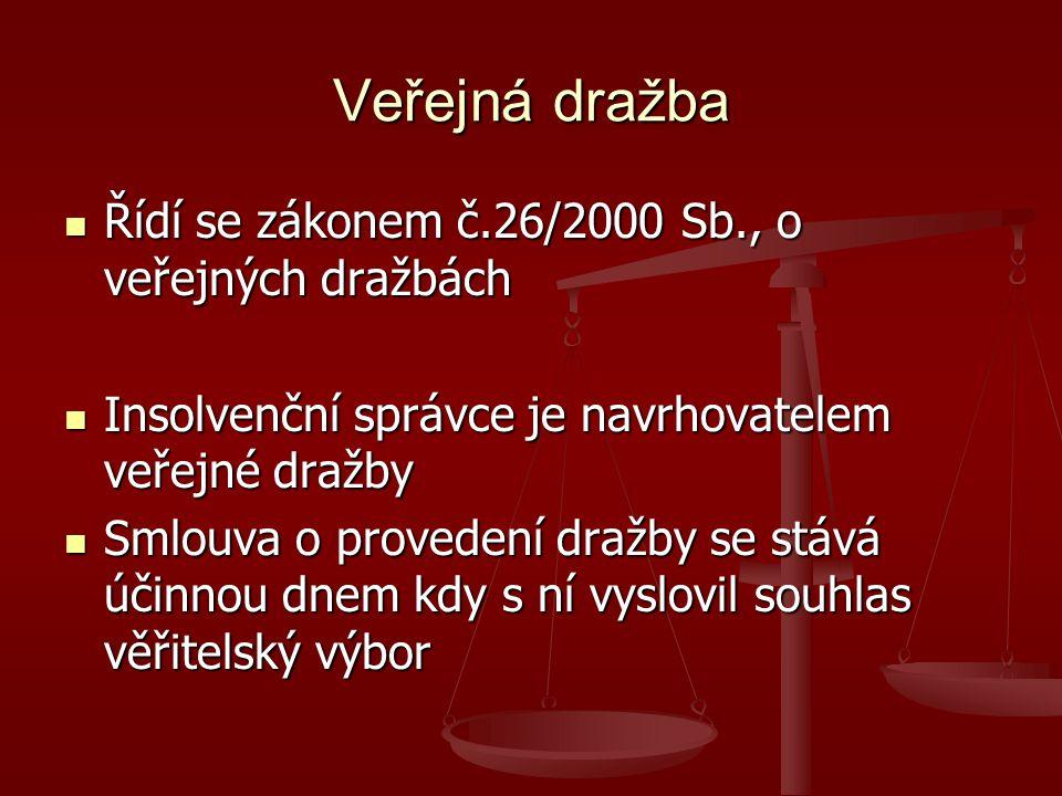 Veřejná dražba Řídí se zákonem č.26/2000 Sb., o veřejných dražbách