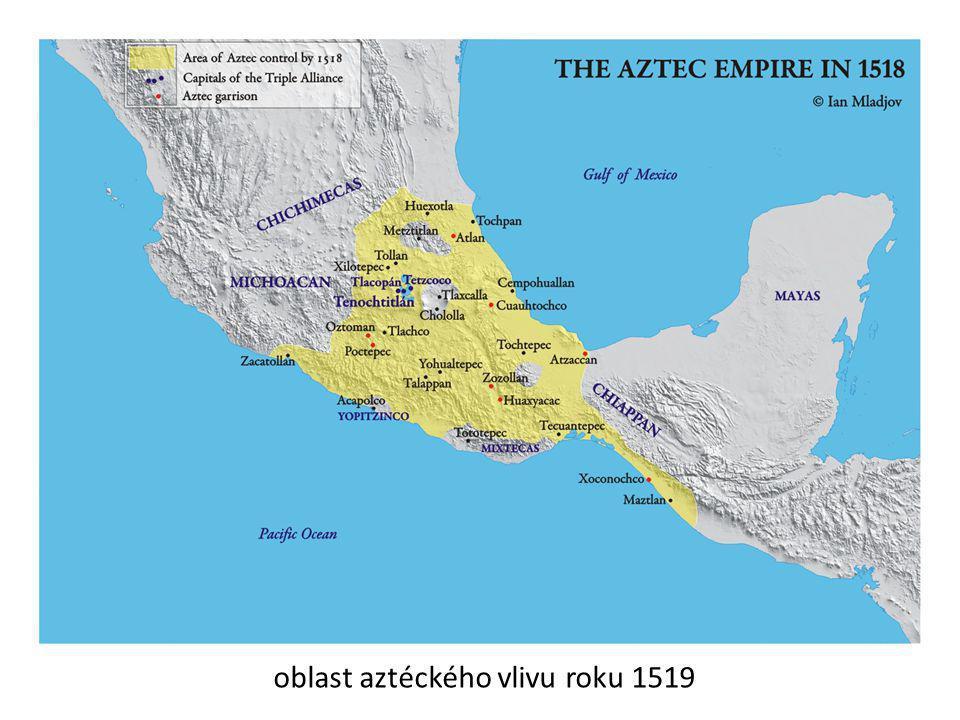 oblast aztéckého vlivu roku 1519