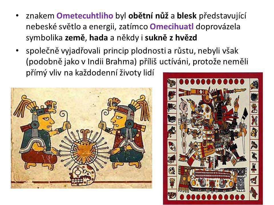 znakem Ometecuhtliho byl obětní nůž a blesk představující nebeské světlo a energii, zatímco Omecihuatl doprovázela symbolika země, hada a někdy i sukně z hvězd