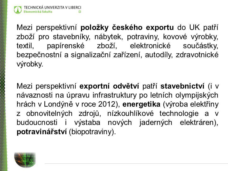 Mezi perspektivní položky českého exportu do UK patří zboží pro stavebníky, nábytek, potraviny, kovové výrobky, textil, papírenské zboží, elektronické součástky, bezpečnostní a signalizační zařízení, autodíly, zdravotnické výrobky.