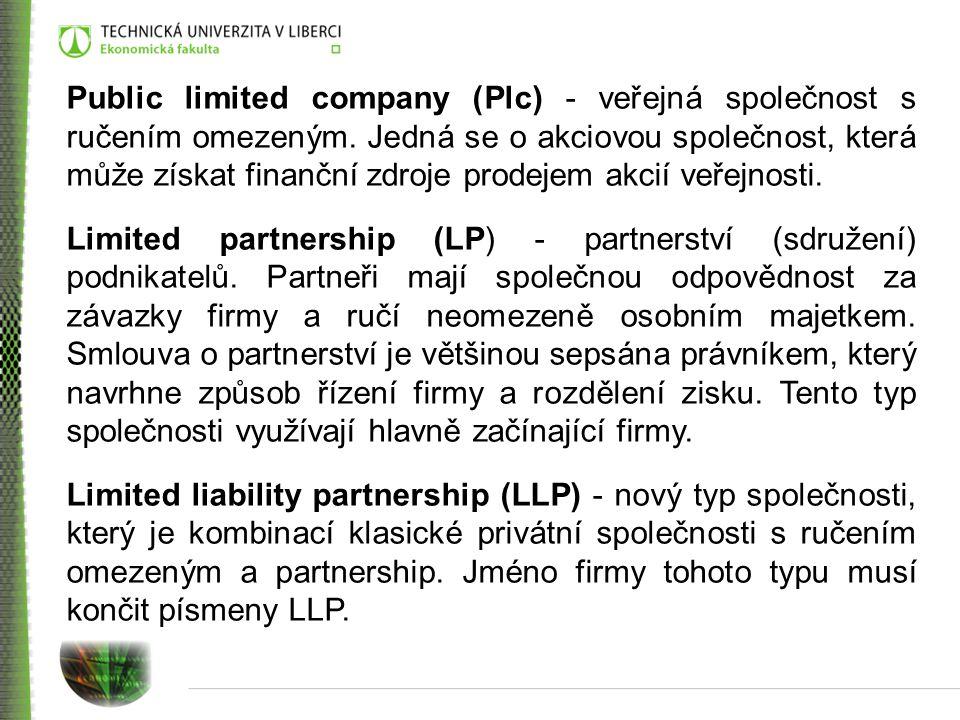 Public limited company (Plc) - veřejná společnost s ručením omezeným