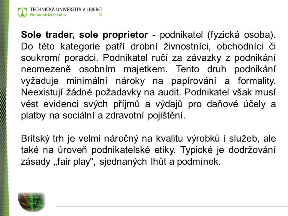 Sole trader, sole proprietor - podnikatel (fyzická osoba)