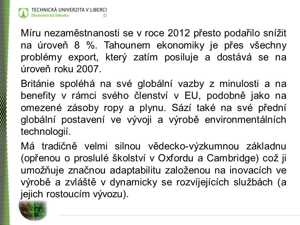 Míru nezaměstnanosti se v roce 2012 přesto podařilo snížit na úroveň 8 %. Tahounem ekonomiky je přes všechny problémy export, který zatím posiluje a dostává se na úroveň roku 2007.