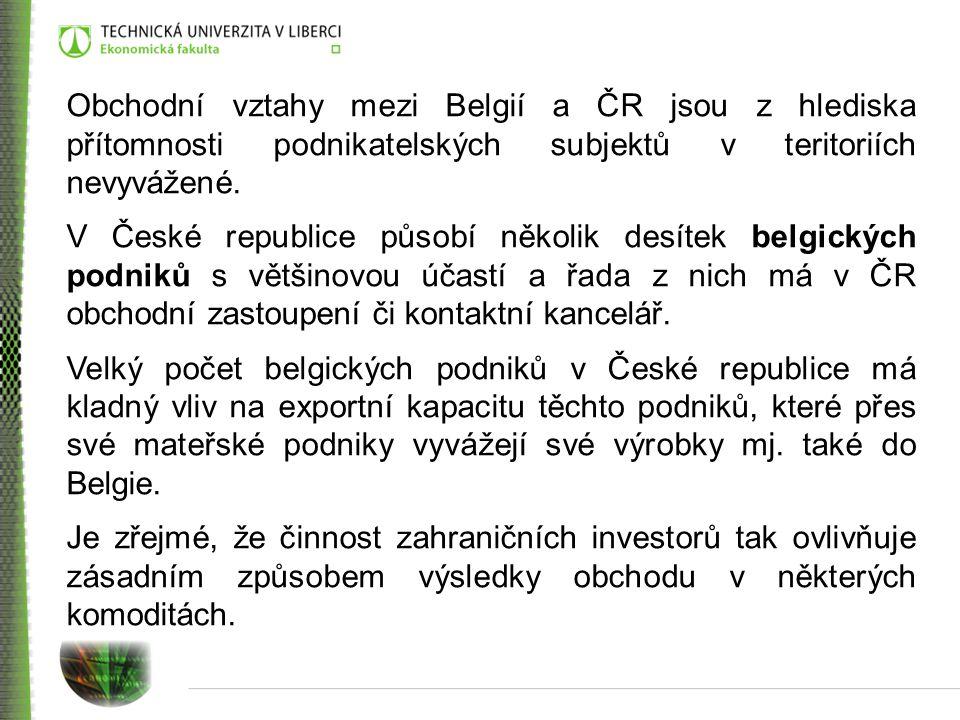 Obchodní vztahy mezi Belgií a ČR jsou z hlediska přítomnosti podnikatelských subjektů v teritoriích nevyvážené.