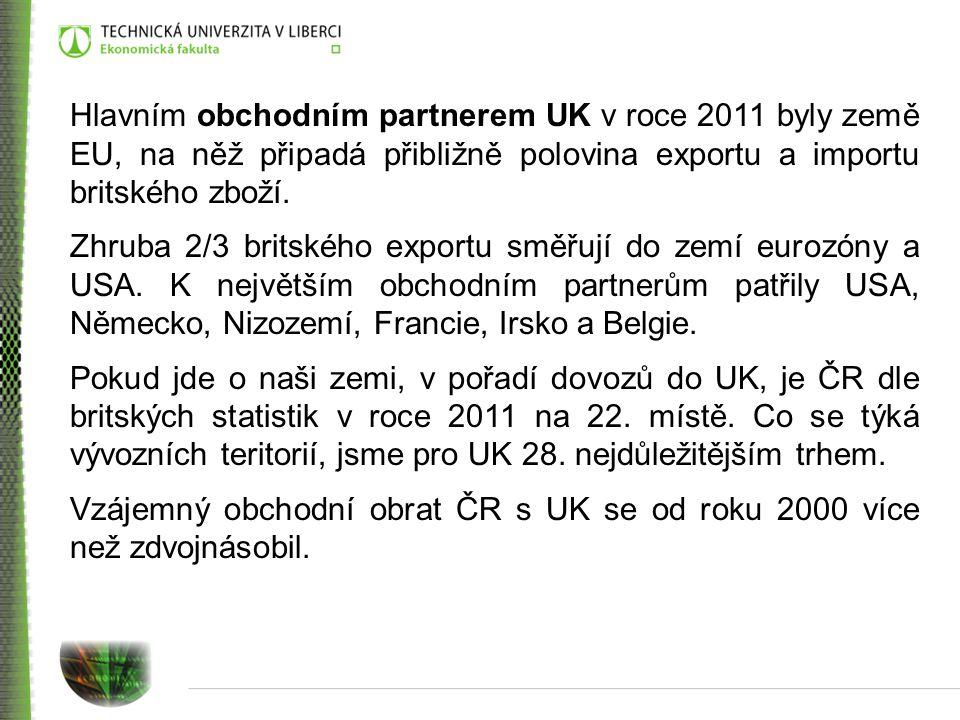 Hlavním obchodním partnerem UK v roce 2011 byly země EU, na něž připadá přibližně polovina exportu a importu britského zboží.