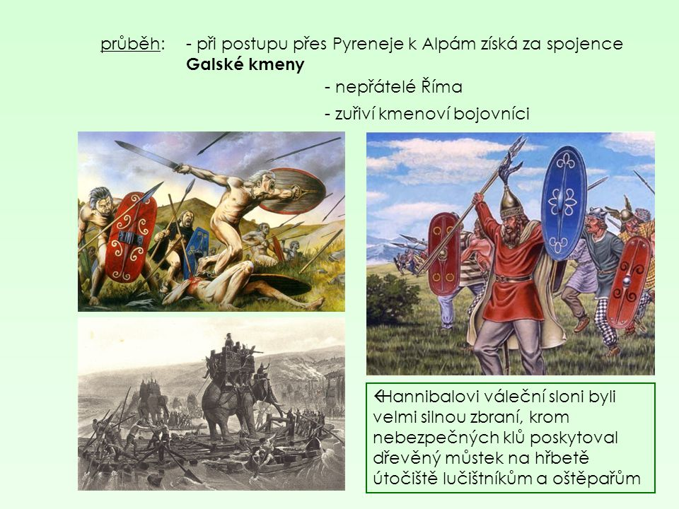 průběh: - při postupu přes Pyreneje k Alpám získá za spojence Galské kmeny. - nepřátelé Říma. - zuřiví kmenoví bojovníci.