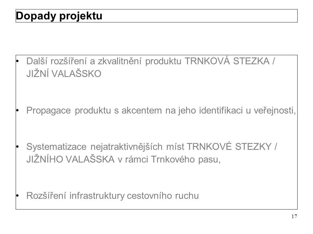 Dopady projektu Další rozšíření a zkvalitnění produktu TRNKOVÁ STEZKA / JIŽNÍ VALAŠSKO.