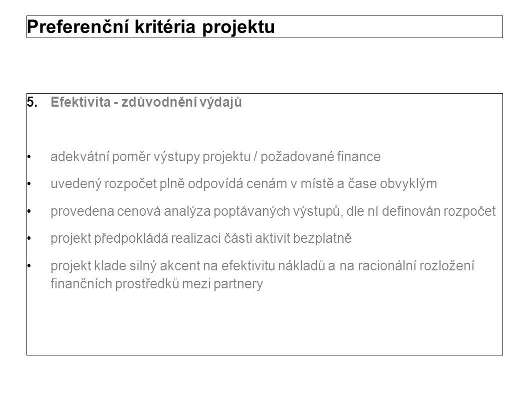 Preferenční kritéria projektu