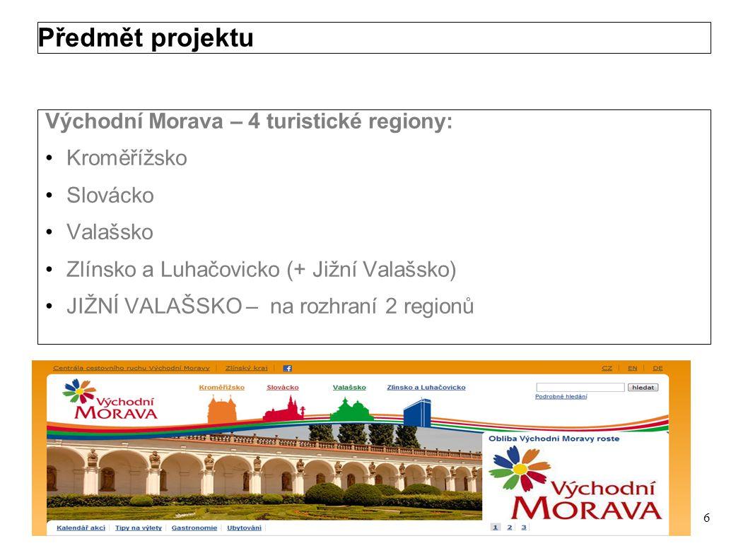Předmět projektu Východní Morava – 4 turistické regiony: Kroměřížsko