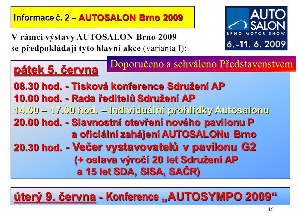 """úterý 9. června - Konference """"AUTOSYMPO 2009"""