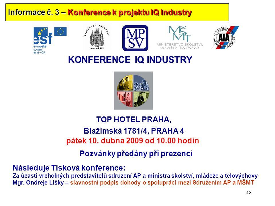 Informace č. 3 – Konference k projektu IQ Industry