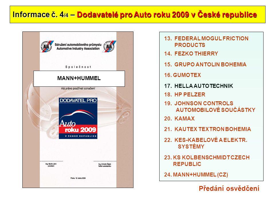 Informace č. 4/4 – Dodavatelé pro Auto roku 2009 v České republice