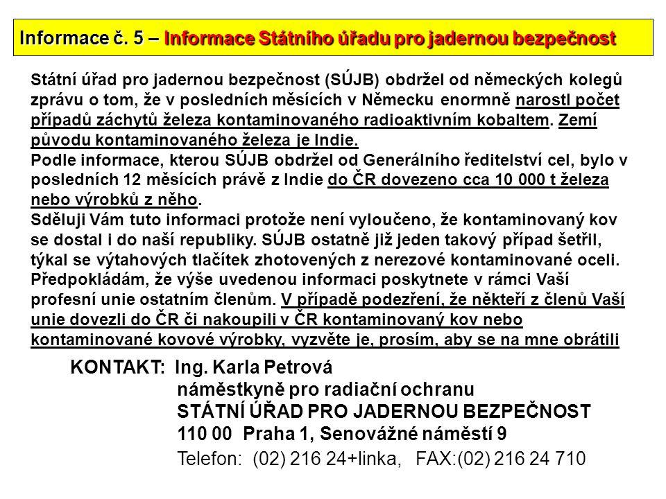 Informace č. 5 – Informace Státního úřadu pro jadernou bezpečnost