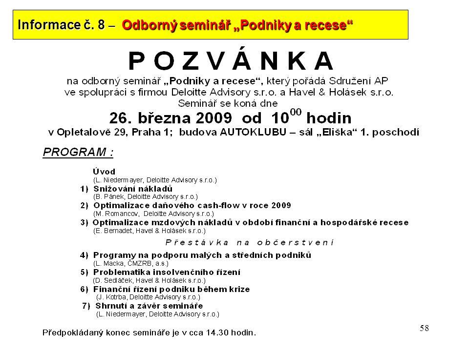 "Informace č. 8 – Odborný seminář ""Podniky a recese"