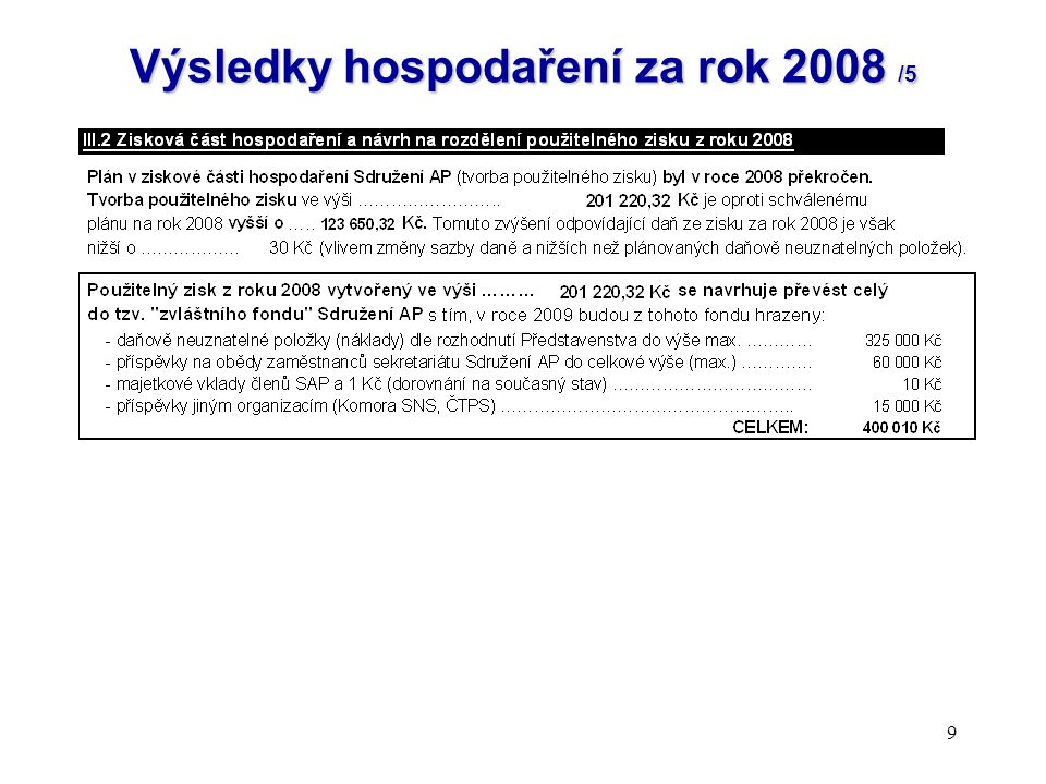 Výsledky hospodaření za rok 2008 /5