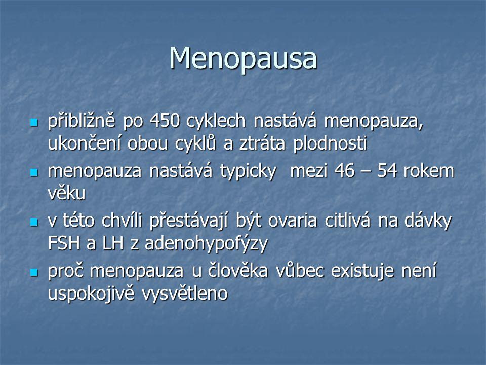 Menopausa přibližně po 450 cyklech nastává menopauza, ukončení obou cyklů a ztráta plodnosti. menopauza nastává typicky mezi 46 – 54 rokem věku.