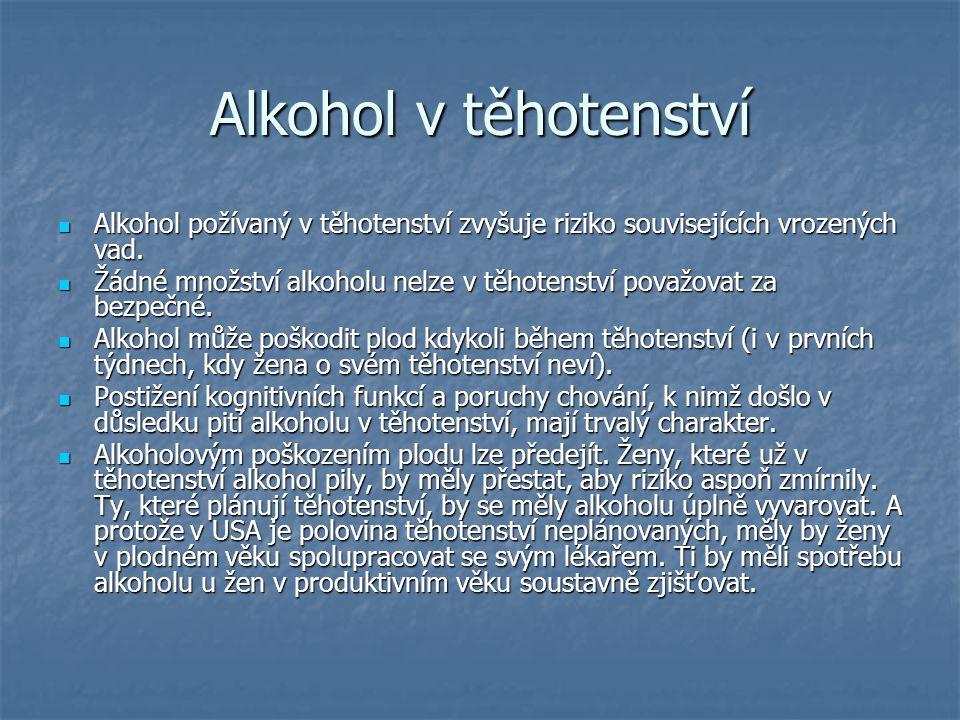 Alkohol v těhotenství Alkohol požívaný v těhotenství zvyšuje riziko souvisejících vrozených vad.