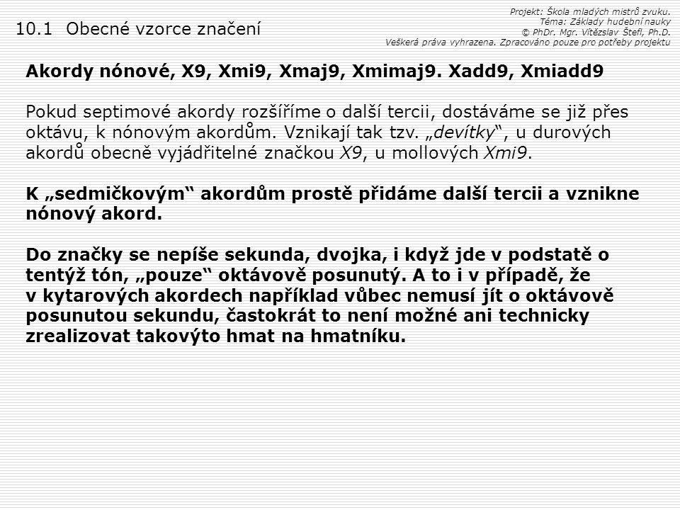 Akordy nónové, X9, Xmi9, Xmaj9, Xmimaj9. Xadd9, Xmiadd9