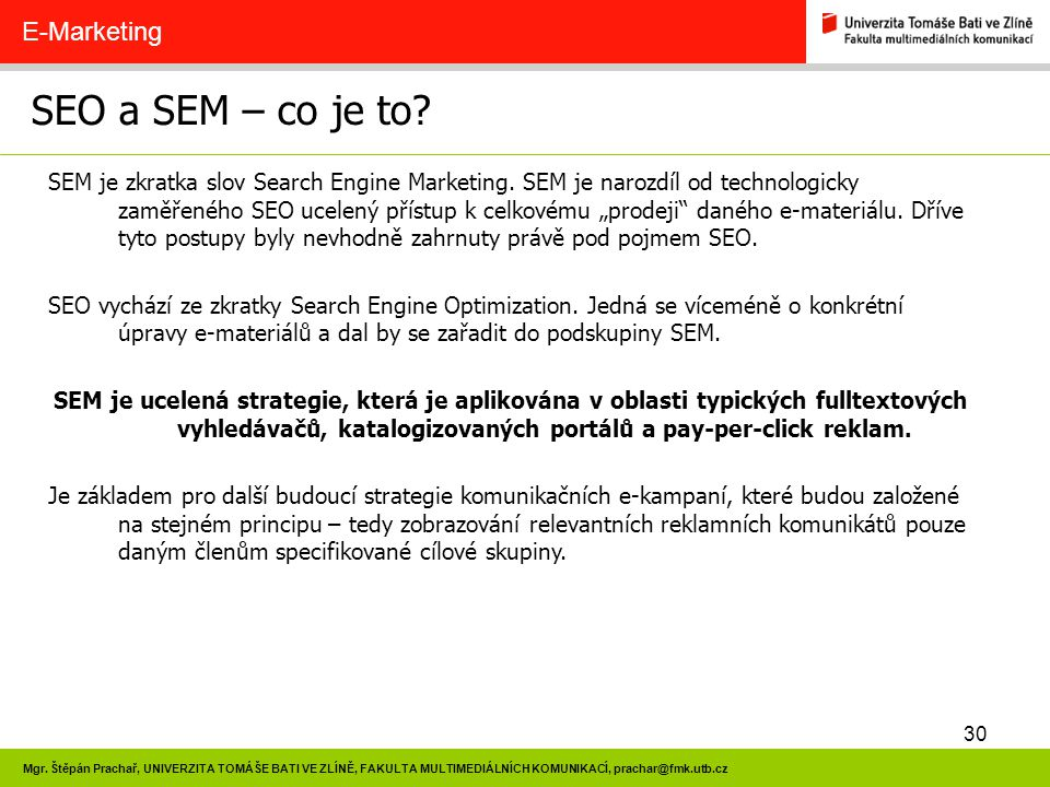 SEO a SEM – co je to E-Marketing