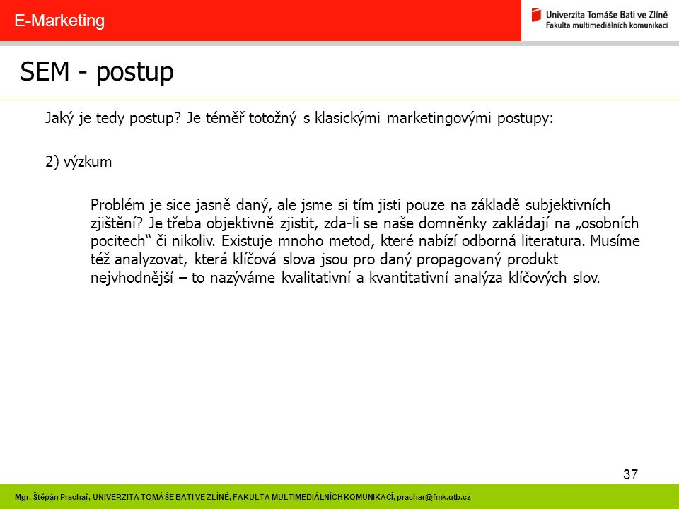 SEM - postup E-Marketing