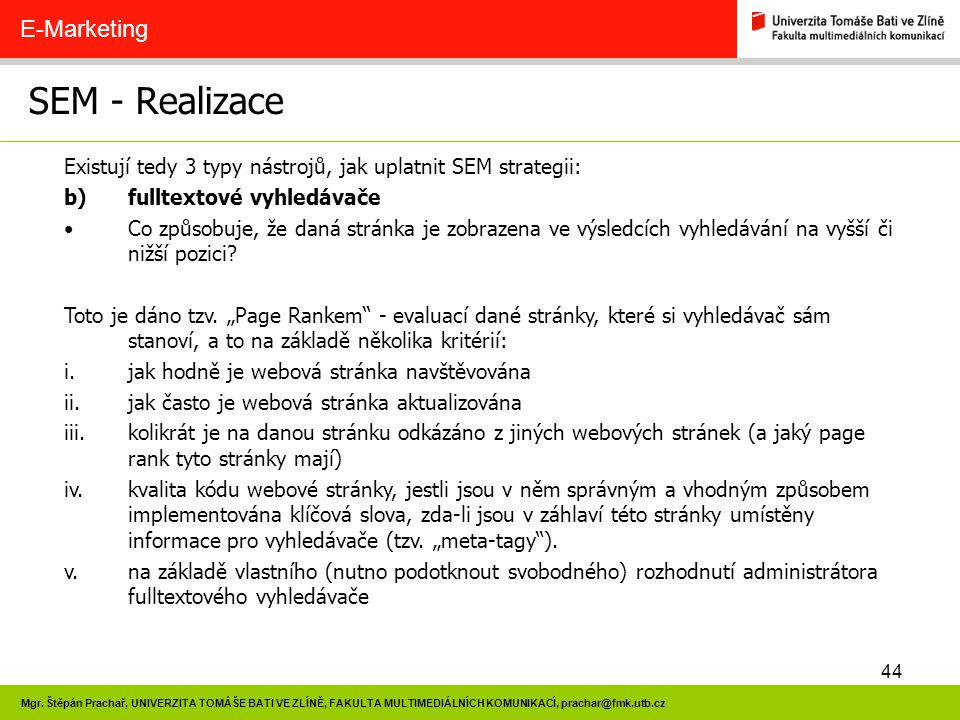 SEM - Realizace E-Marketing
