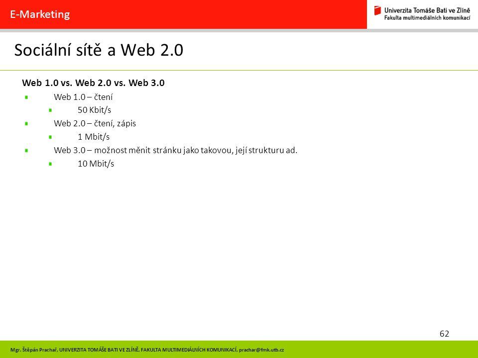 Sociální sítě a Web 2.0 E-Marketing Web 1.0 vs. Web 2.0 vs. Web 3.0