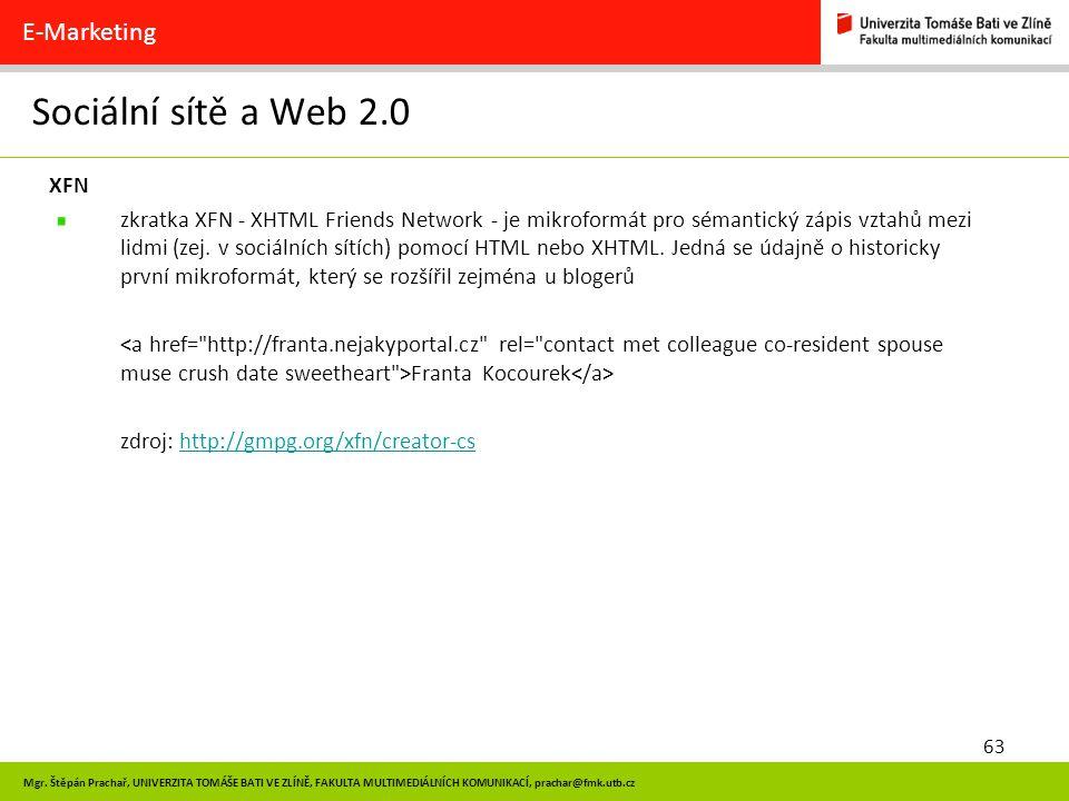 Sociální sítě a Web 2.0 E-Marketing XFN