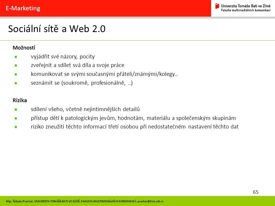 Sociální sítě a Web 2.0 E-Marketing Možnosti