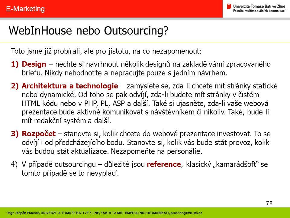 WebInHouse nebo Outsourcing