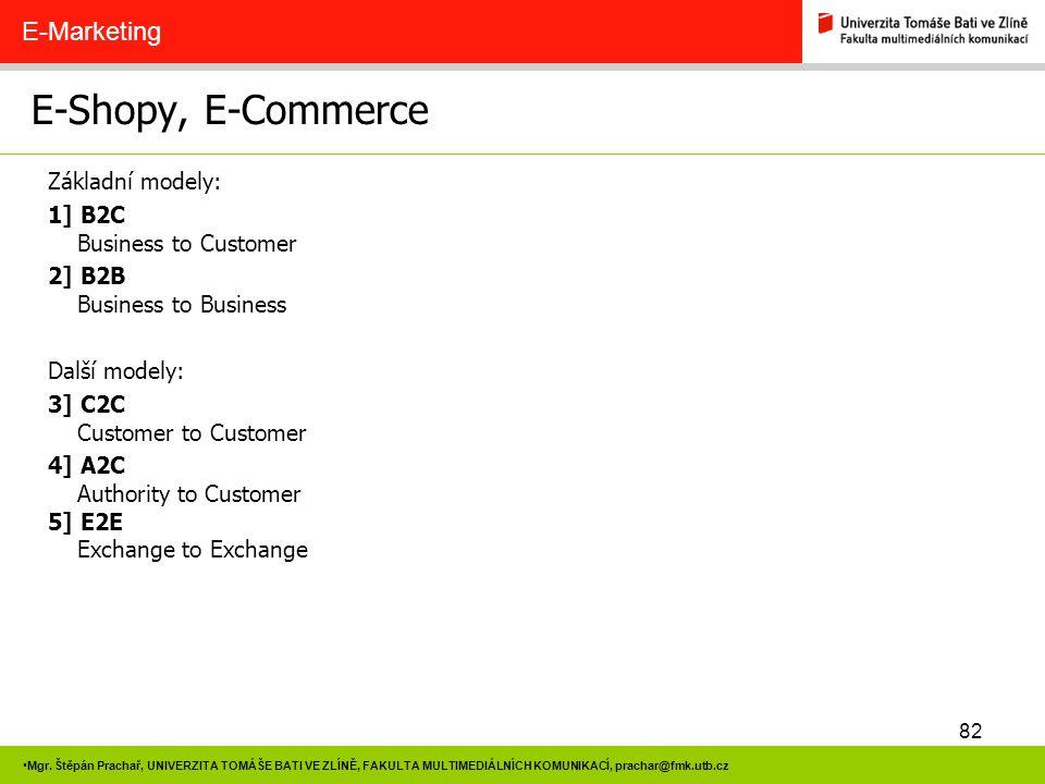 E-Shopy, E-Commerce E-Marketing Základní modely: