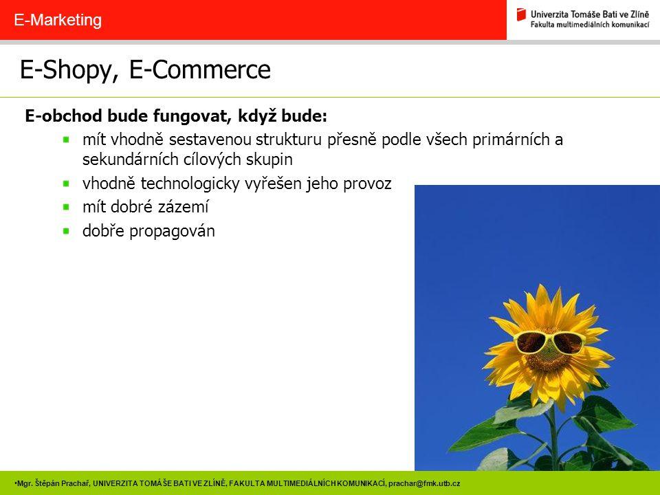 E-Shopy, E-Commerce E-Marketing E-obchod bude fungovat, když bude: