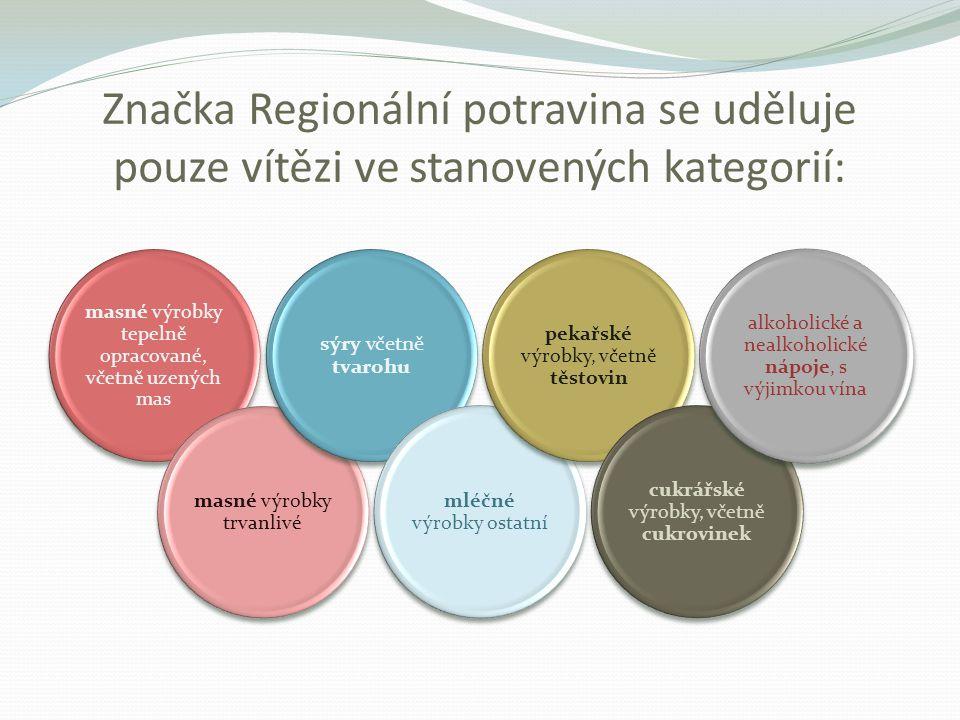 Značka Regionální potravina se uděluje pouze vítězi ve stanovených kategorií: