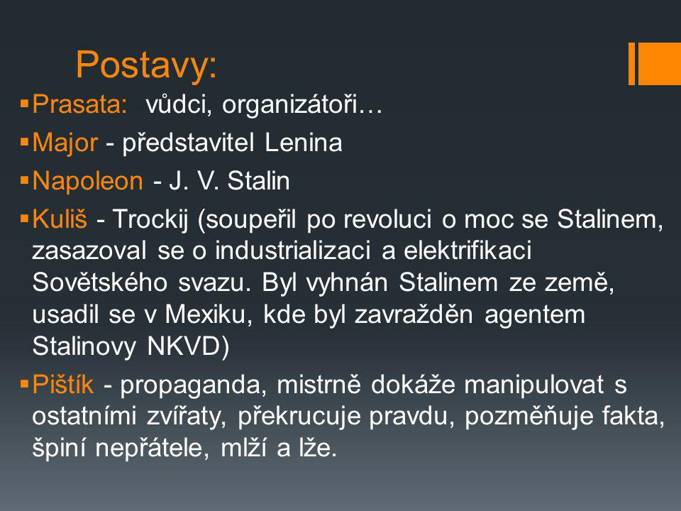 Postavy: Prasata: vůdci, organizátoři… Major - představitel Lenina