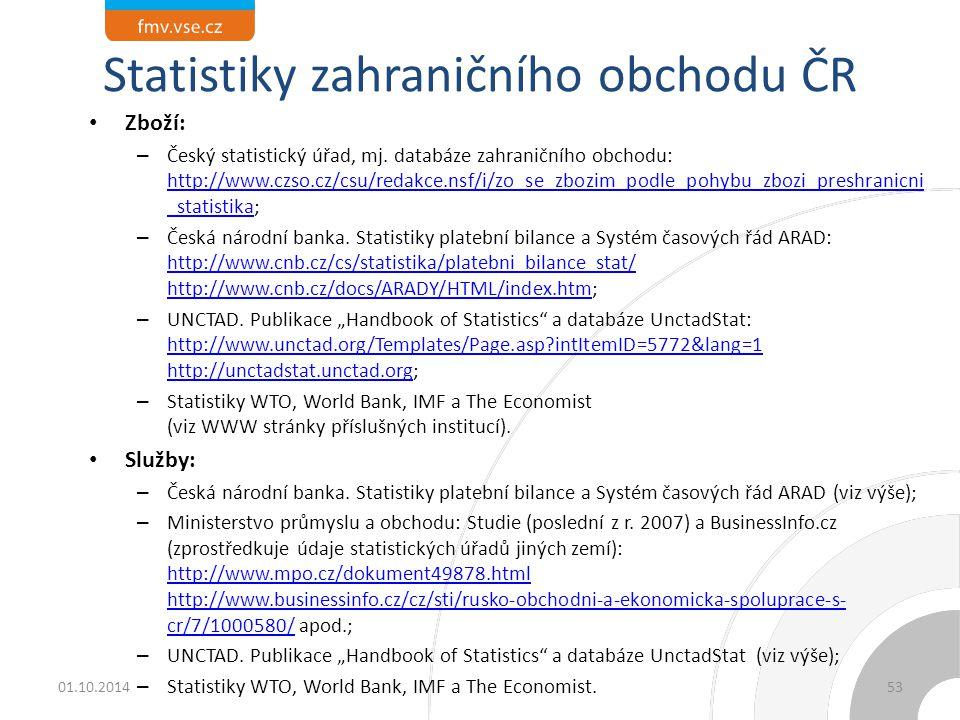 Statistiky zahraničního obchodu ČR