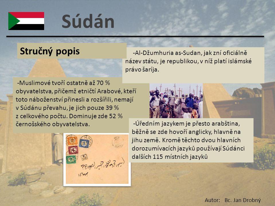 Súdán Stručný popis. -Al-Džumhuria as-Sudan, jak zní oficiálně název státu, je republikou, v níž platí islámské právo šaríja.