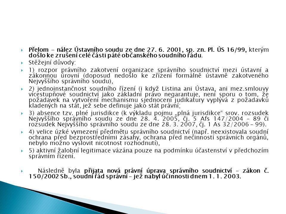 Přelom - nález Ústavního soudu ze dne 27. 6. 2001, sp. zn. Pl