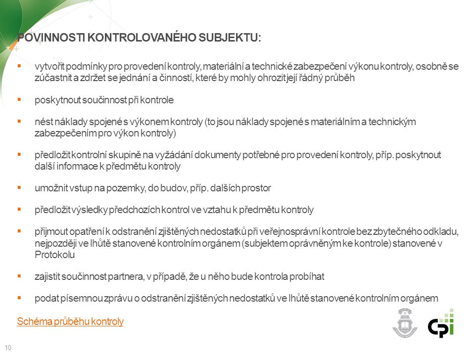 Povinnosti kontrolovaného subjektu: