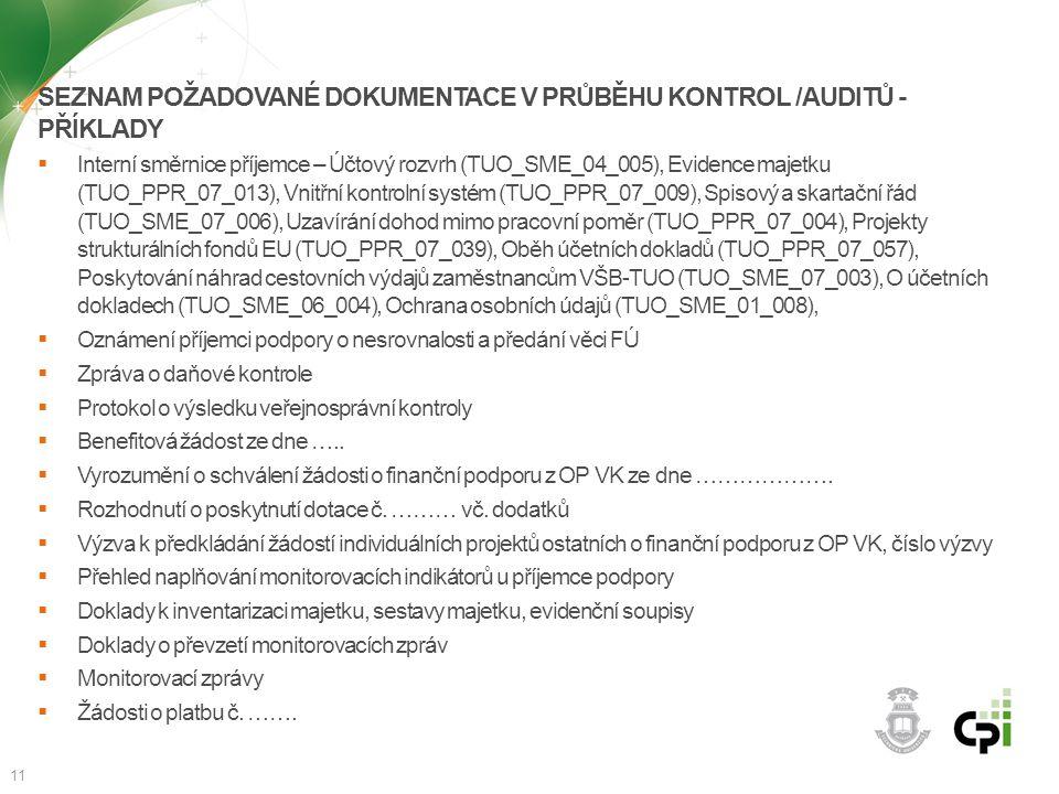 Seznam požadované dokumentace v průběhu kontrol /auditů - příklady