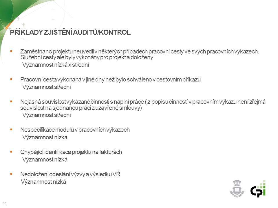 Příklady zjištění auditů/kontrol