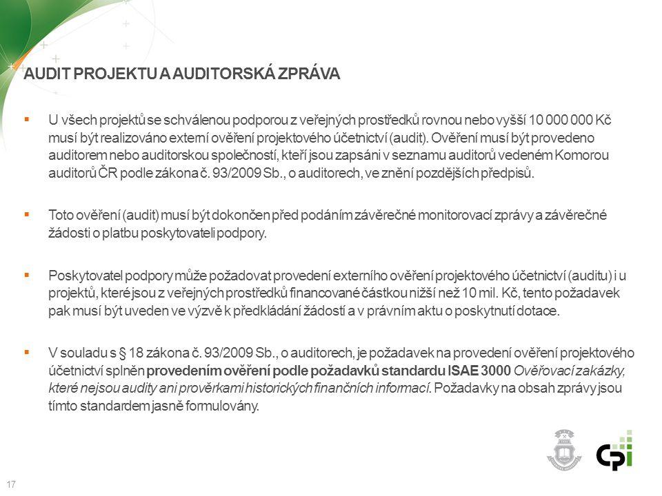 Audit projektu a auditorská zpráva