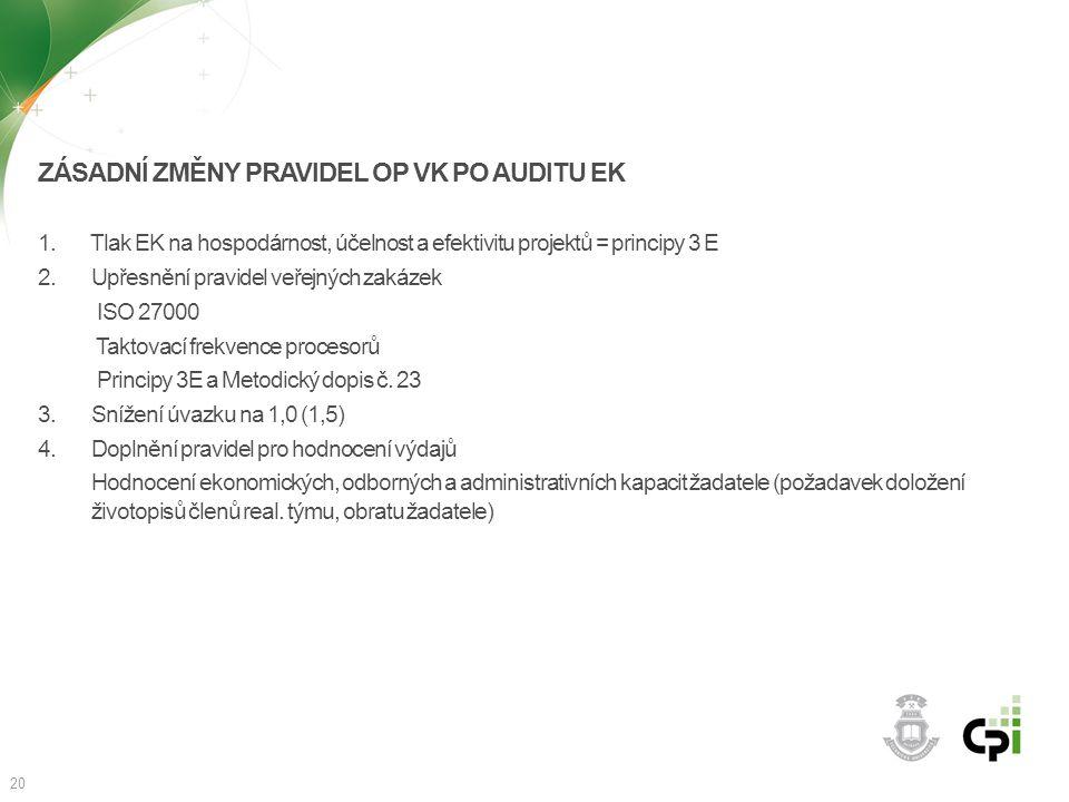 Zásadní změny pravidel OP VK po auditu EK
