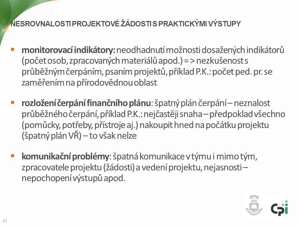 Nesrovnalosti projektové žádosti s praktickými výstupy