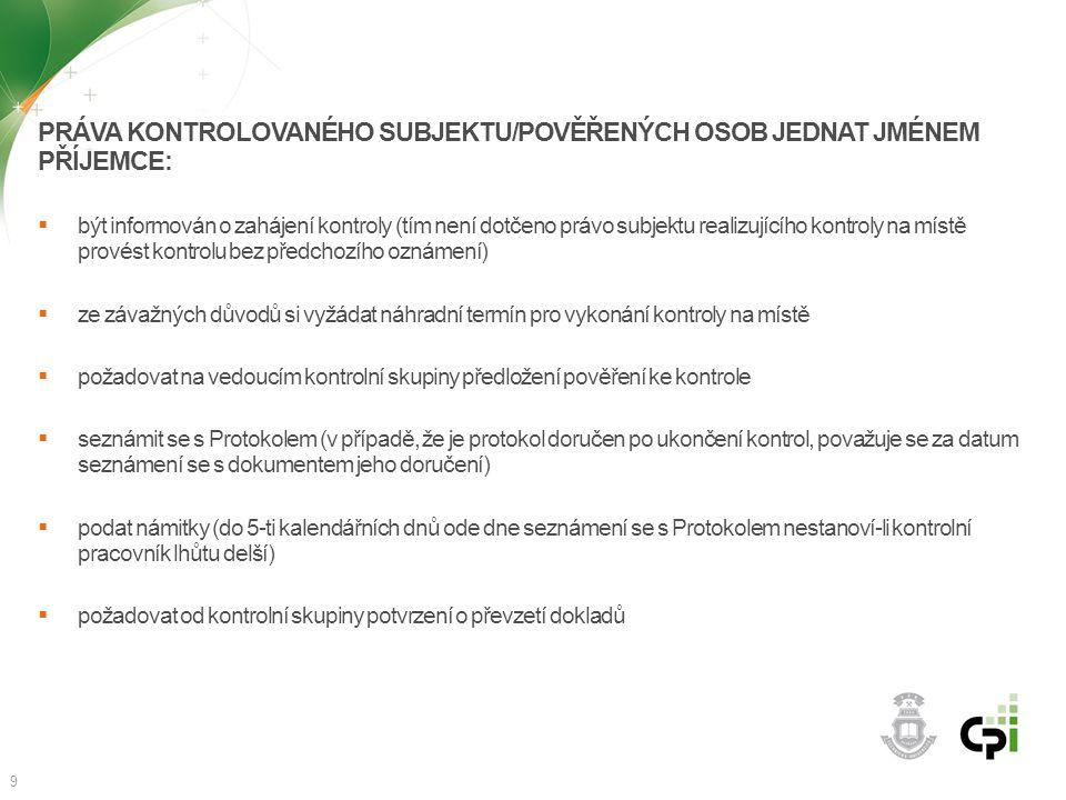 Práva kontrolovaného subjektu/pověřených osob jednat jménem příjemce: