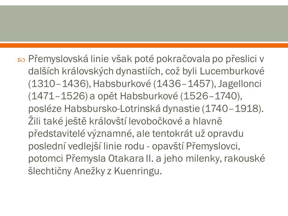 Přemyslovská linie však poté pokračovala po přeslici v dalších královských dynastiích, což byli Lucemburkové (1310–1436), Habsburkové (1436–1457), Jagellonci (1471–1526) a opět Habsburkové (1526–1740), posléze Habsbursko-Lotrinská dynastie (1740–1918).