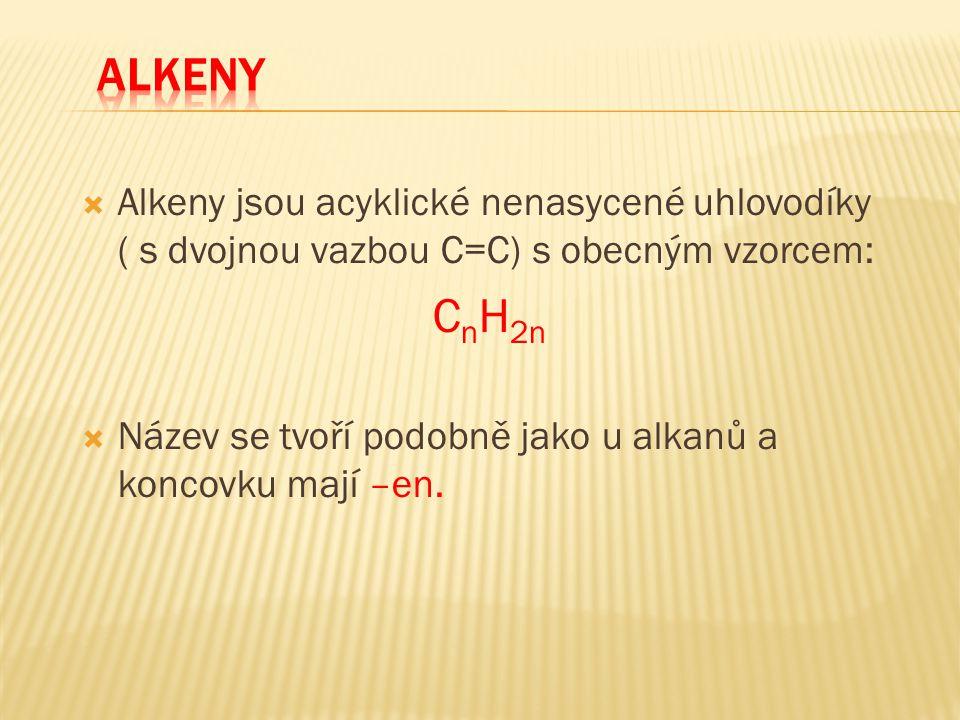 ALKENY Alkeny jsou acyklické nenasycené uhlovodíky ( s dvojnou vazbou C=C) s obecným vzorcem: CnH2n.
