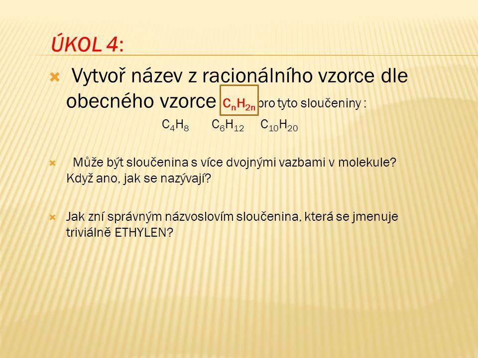 ÚKOL 4: Vytvoř název z racionálního vzorce dle obecného vzorce CnH2n pro tyto sloučeniny : C4H8 C6H12 C10H20.