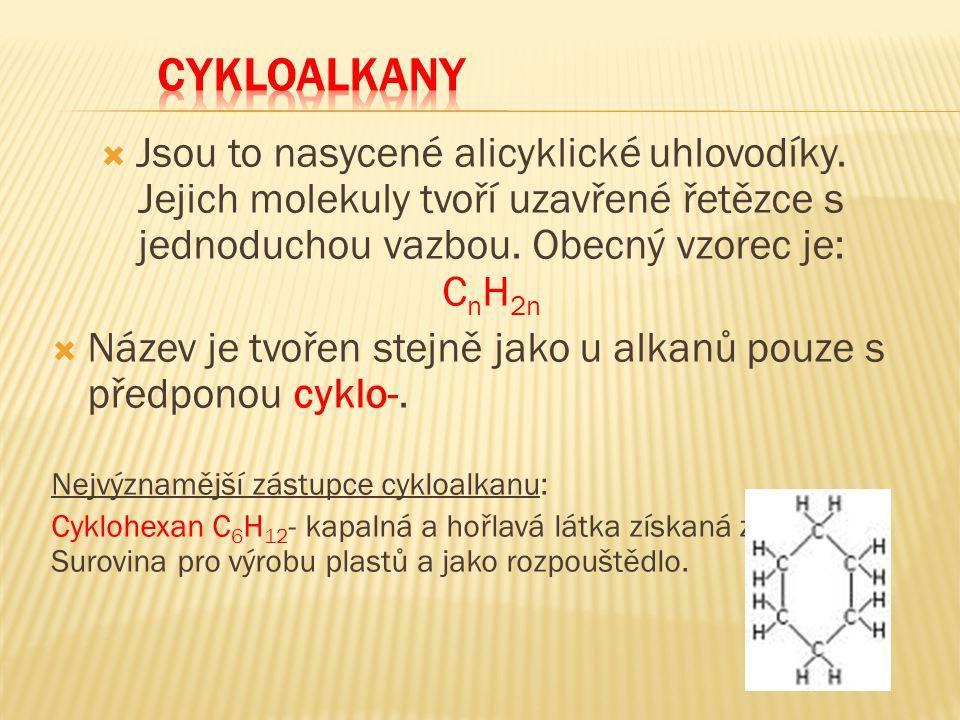 CYKLOALKANY Jsou to nasycené alicyklické uhlovodíky. Jejich molekuly tvoří uzavřené řetězce s jednoduchou vazbou. Obecný vzorec je: CnH2n.