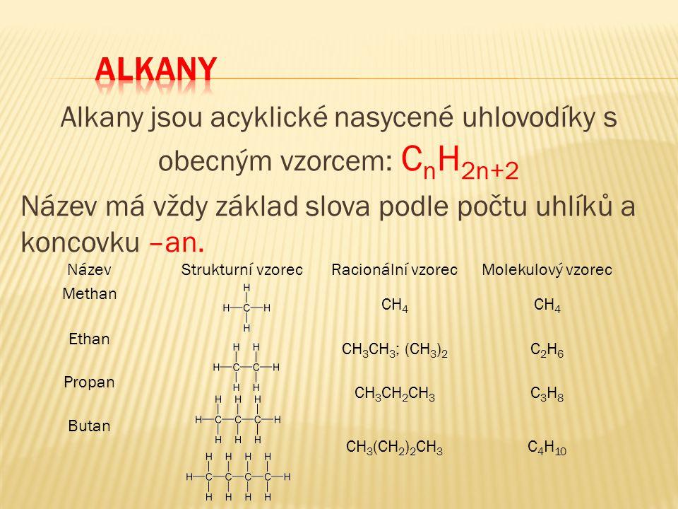 ALKANY Alkany jsou acyklické nasycené uhlovodíky s obecným vzorcem: CnH2n+2 Název má vždy základ slova podle počtu uhlíků a koncovku –an.